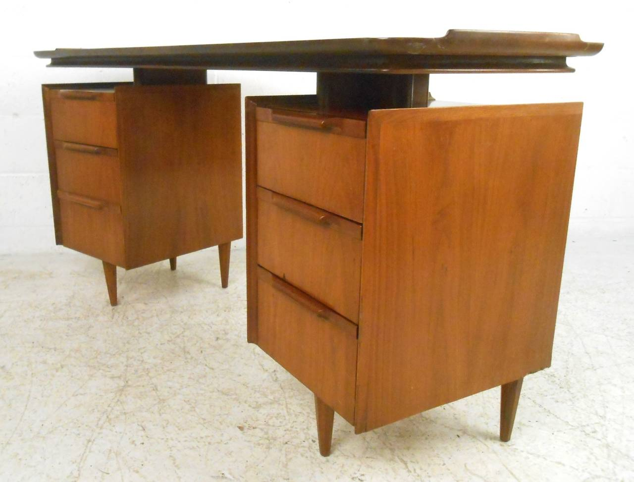 Mid Century Modern American Walnut Floating Top Desk At