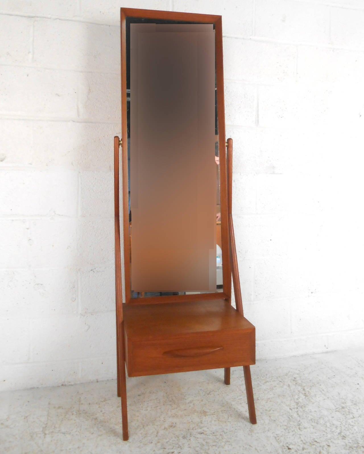 Mid century modern arne vodder teak cheval dressing mirror for sale at 1stdibs for Dressing mirror