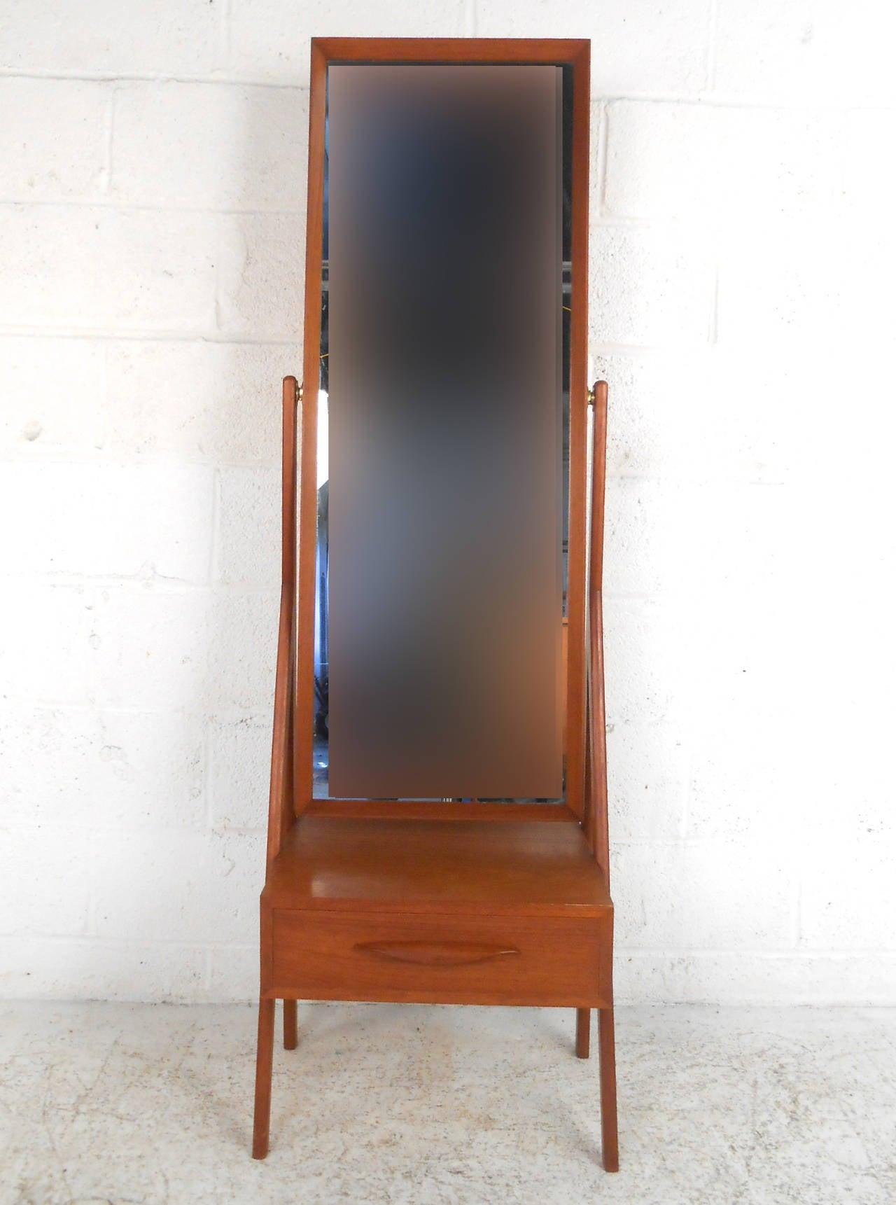Mid Century Modern Arne Vodder Teak Cheval Dressing Mirror