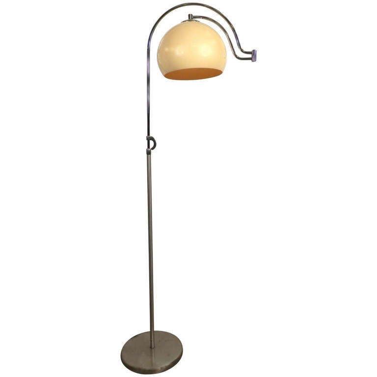 unusual adjustable floor lamp w swing arm for sale at 1stdibs. Black Bedroom Furniture Sets. Home Design Ideas