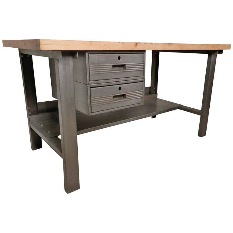 Superieur Large Restored Factory Work Table From The Mid 20th Century