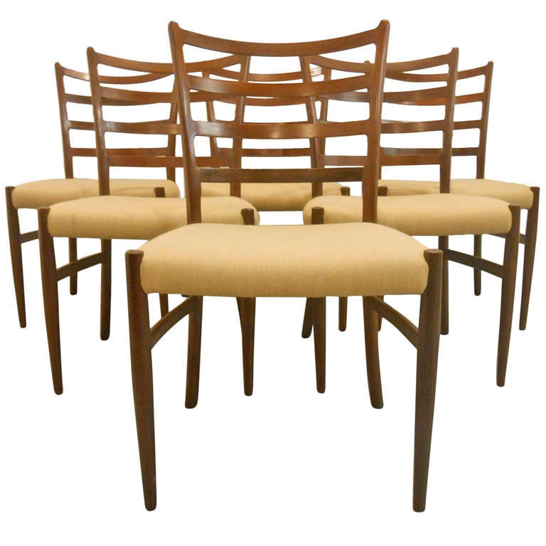six danish mid century modern ladderback dining chairs for