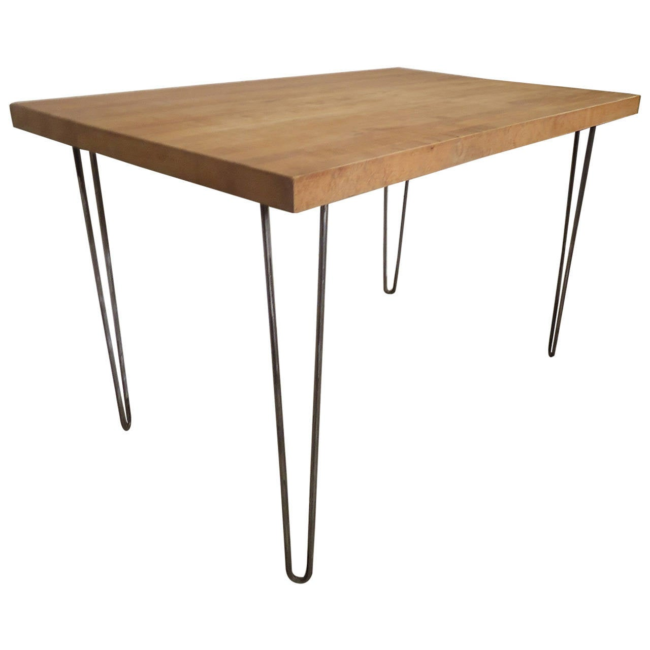 butcher block table on iron hairpin legs for sale at 1stdibs. Black Bedroom Furniture Sets. Home Design Ideas