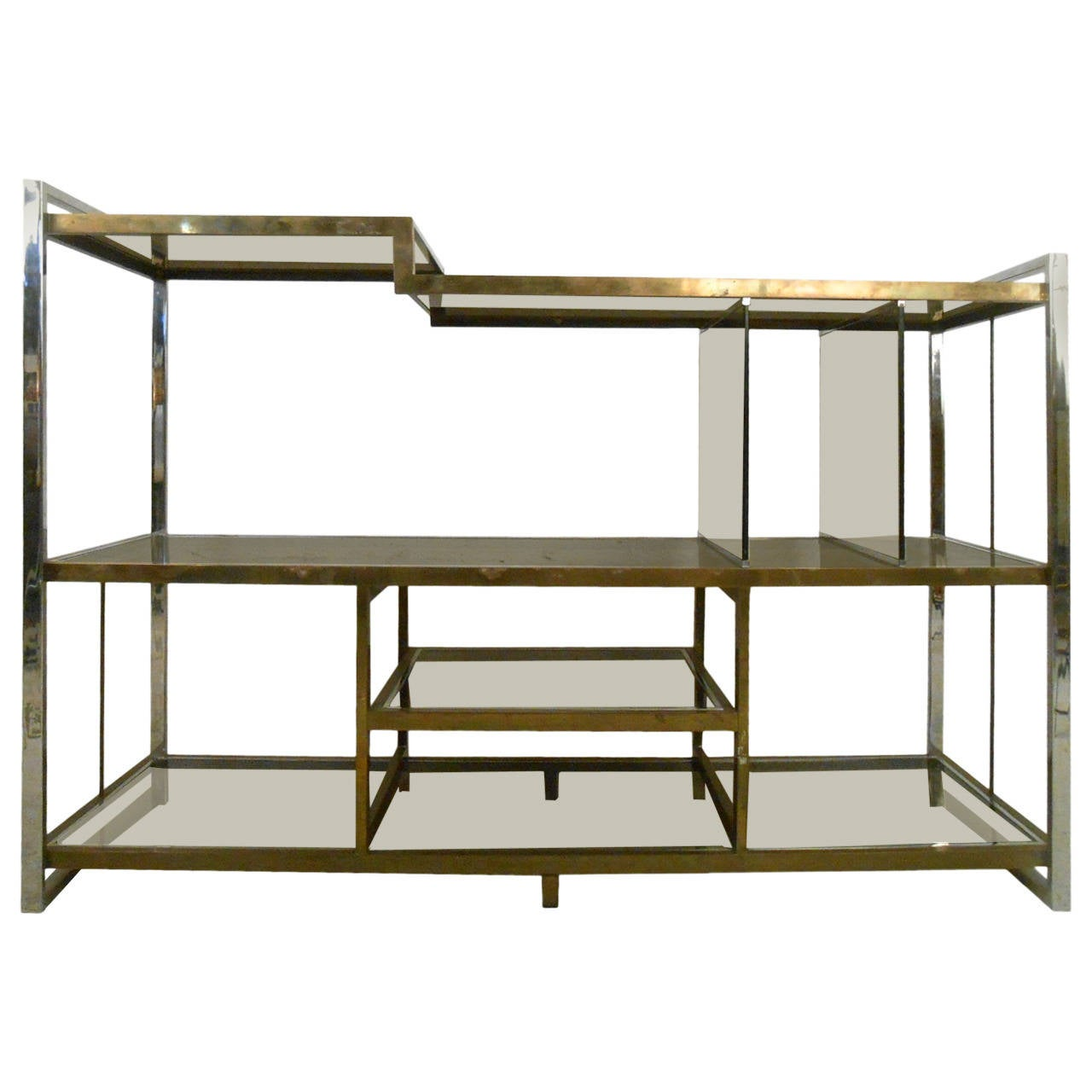 #5D4A21 Mid Century Modern Milo Baughman Chrome Brass And Glass Low Bookshelf  with 1280x1280 px of Recommended Modern Low Bookcase 12801280 save image @ avoidforclosure.info