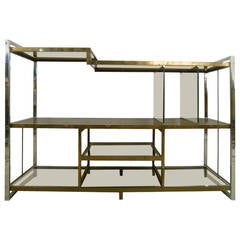 Mid-Century Modern Milo Baughman Chrome Brass and Glass Low Bookshelf