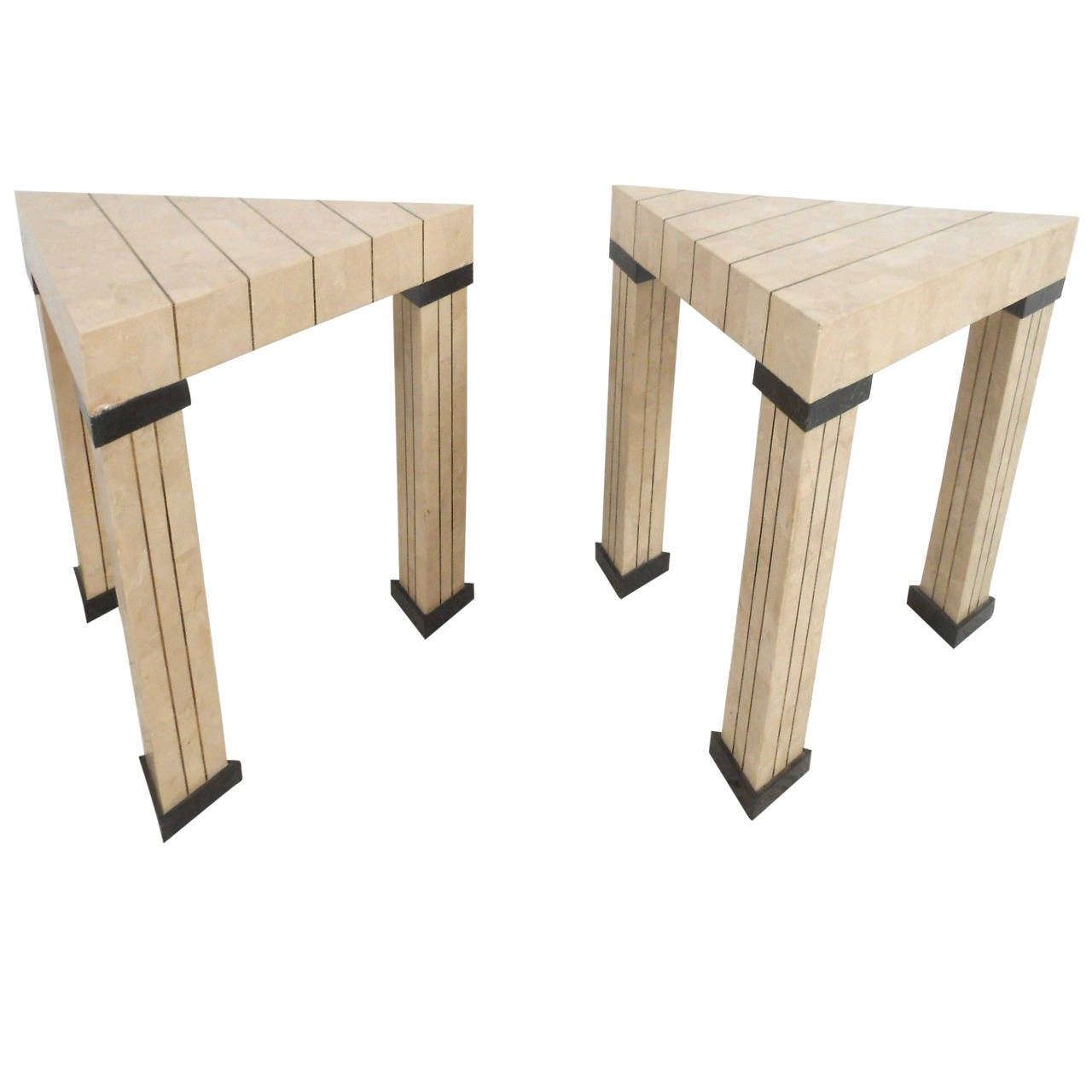 Pair of Mid-Century Modern Maitland Smith Style Triangular End Tables