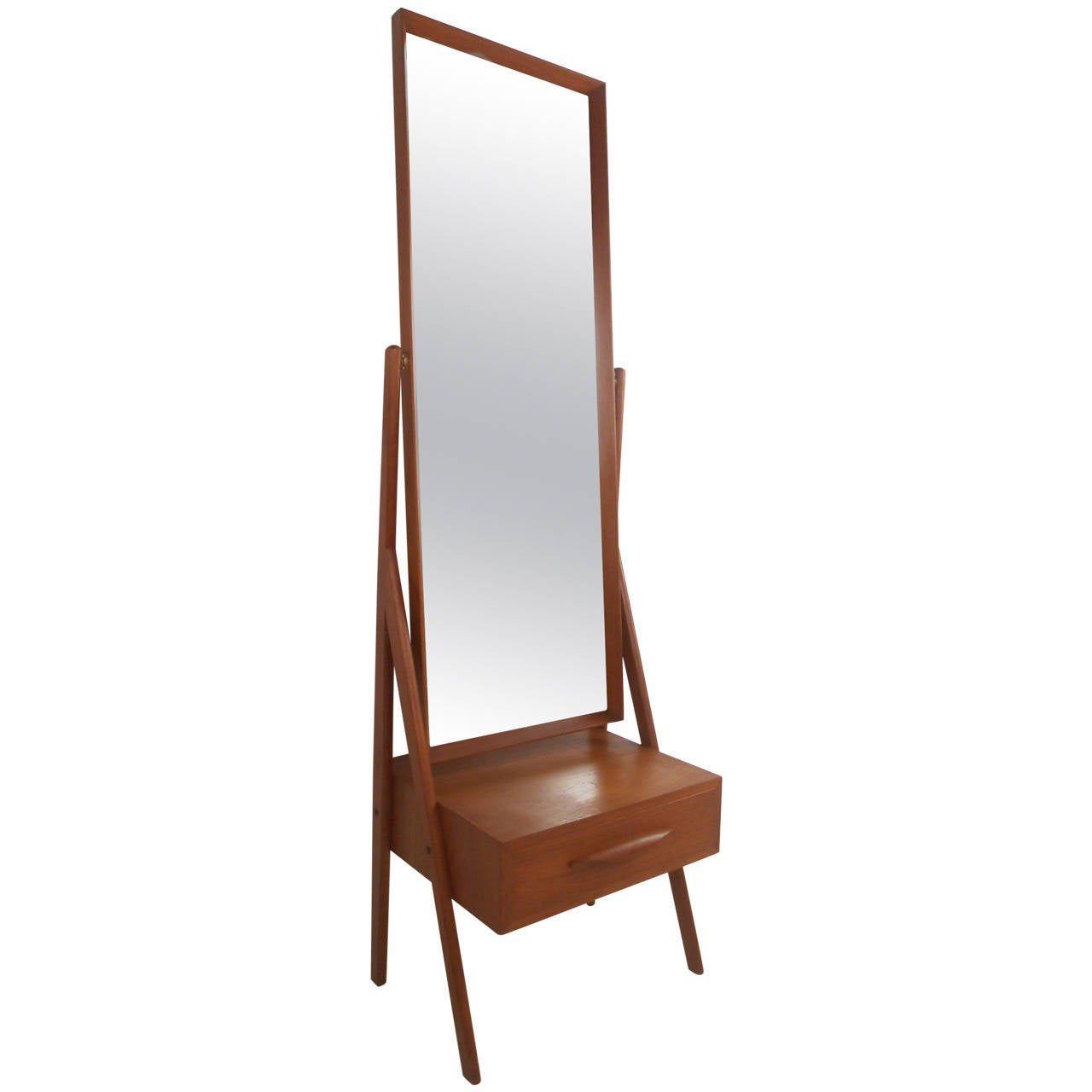 Mid-Century Modern Arne Vodder Teak Cheval Dressing Mirror 1