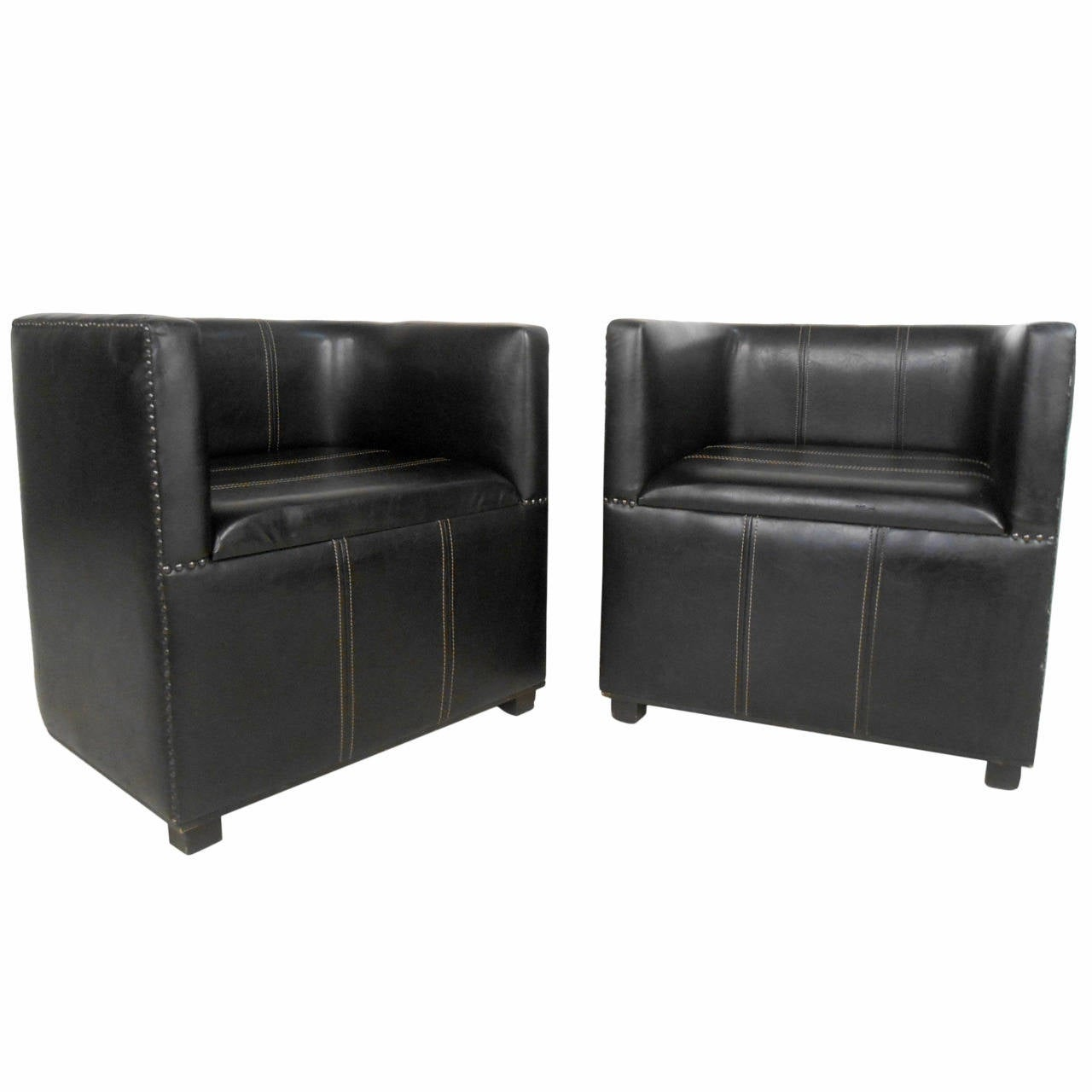 597e36e7188c4 Pair of Mid-Century Modern Style Miniature Leather Club Chairs For Sale