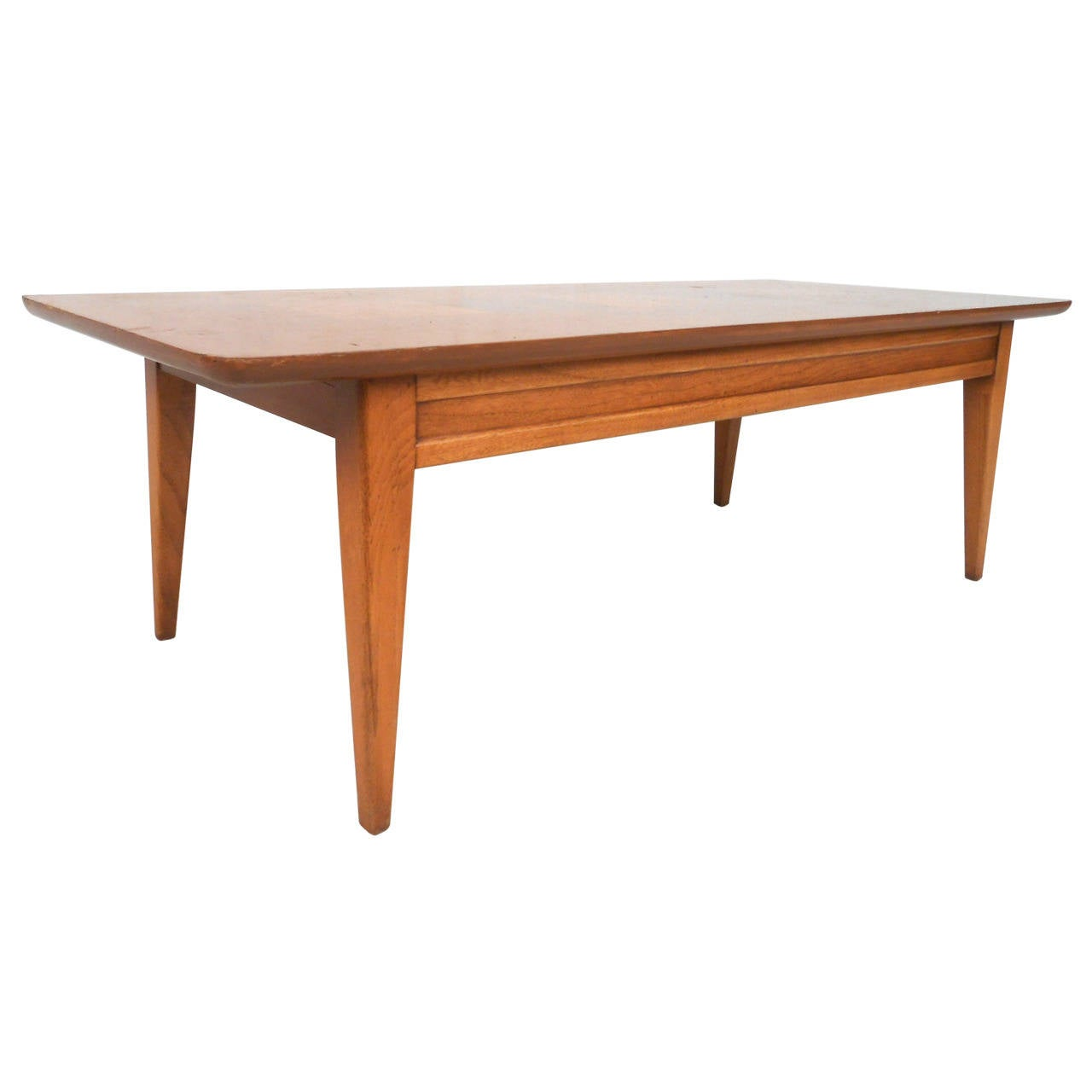 Mid-Century Style Walnut with Burlwood Inlay Coffee Table by Lane Furniture  1 - Mid-Century Style Walnut With Burlwood Inlay Coffee Table By Lane