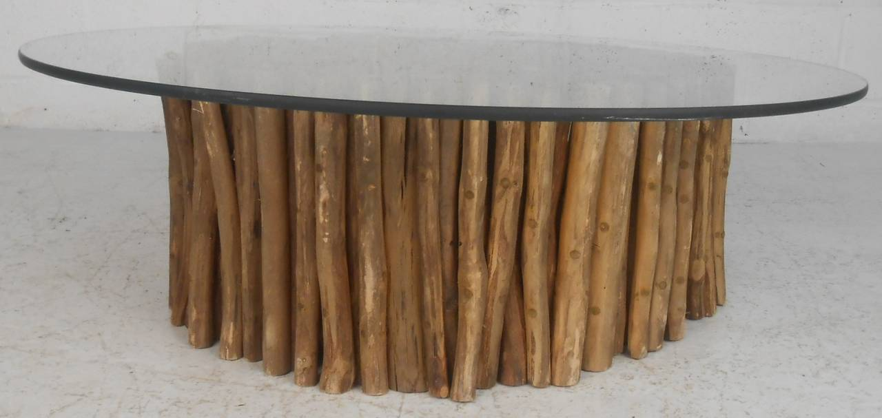 Vintage Modern Glass Top Coffee Table Featuring A Uniquely Crafted Wooden  Base. Table Is