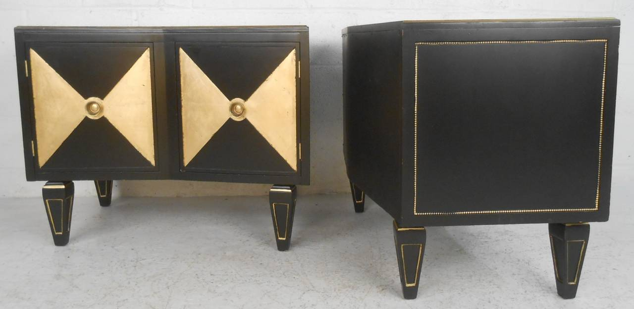 Pair Of Mid Century Modern Gold And Black Night Stands By