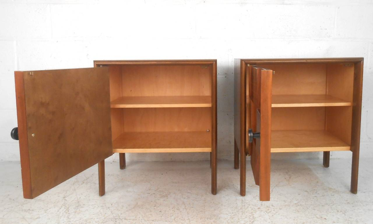 Pair of unique mid century modern cabinet front nightstands at 1stdibs