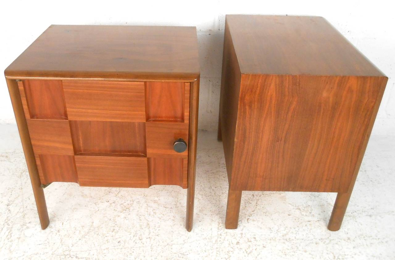 Pair of Unique Mid-Century Modern Cabinet Front Nightstands at 1stdibs