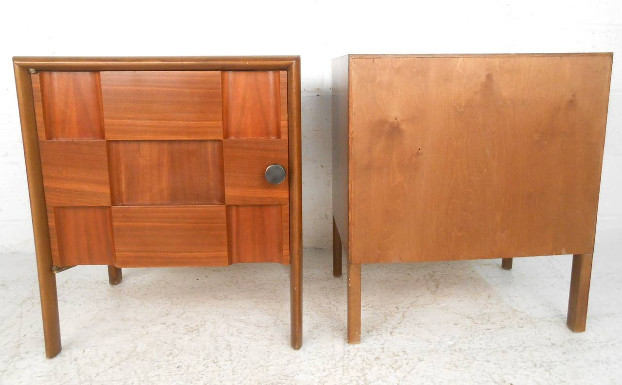 Pair of unique mid century modern cabinet front for Creative nightstands