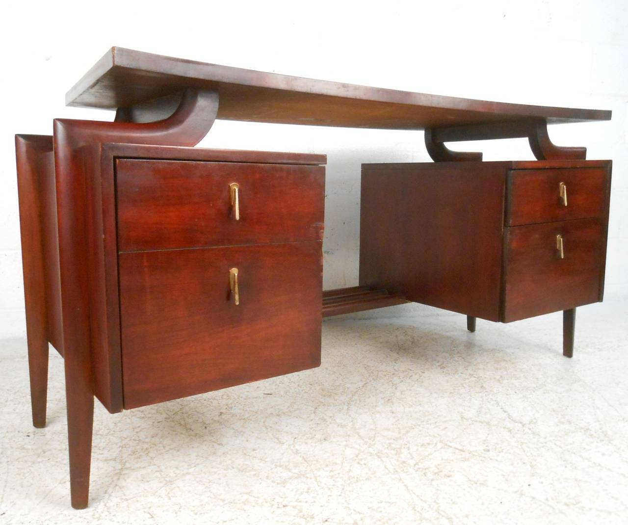Mid Century Modern Desk: Mid-Century Modern Floating Top Desk With Chair By Tri