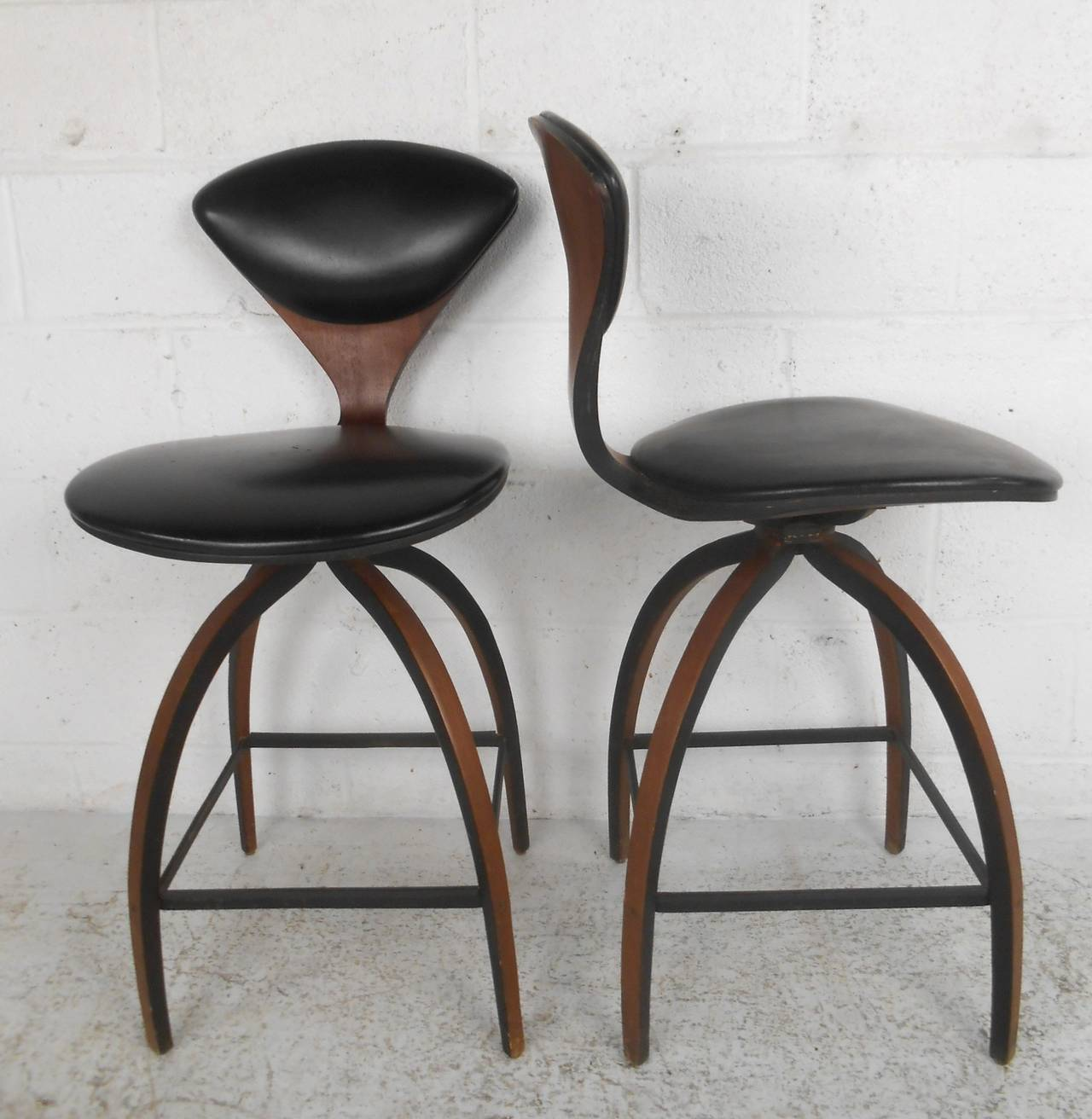 pair of midcentury modern plycraft bar stools by norman cherner  - pair of midcentury modern plycraft bar stools by norman cherner