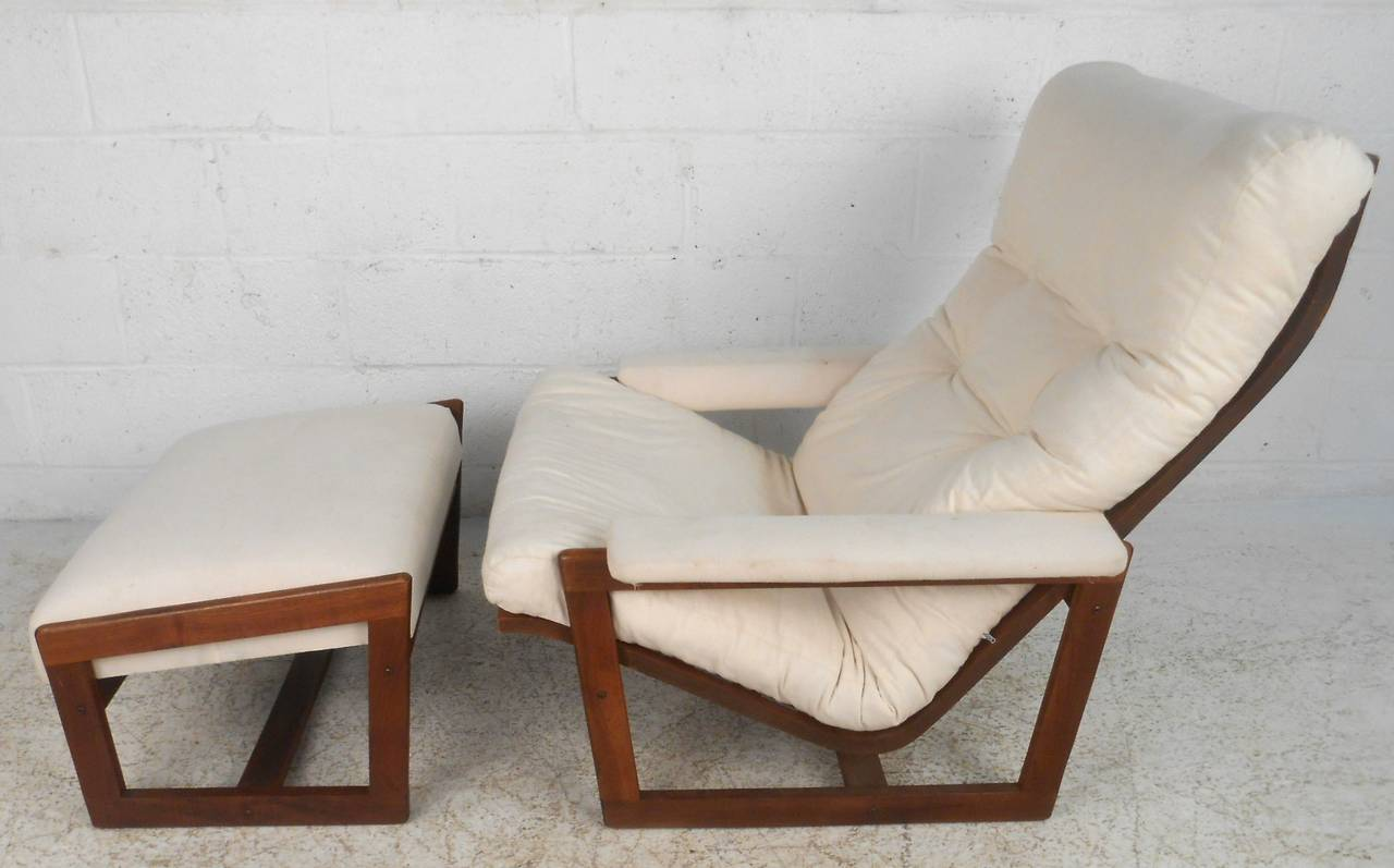Mid-Century Modern Teak Frame Lounge Chair with Ottoman For Sale at ...
