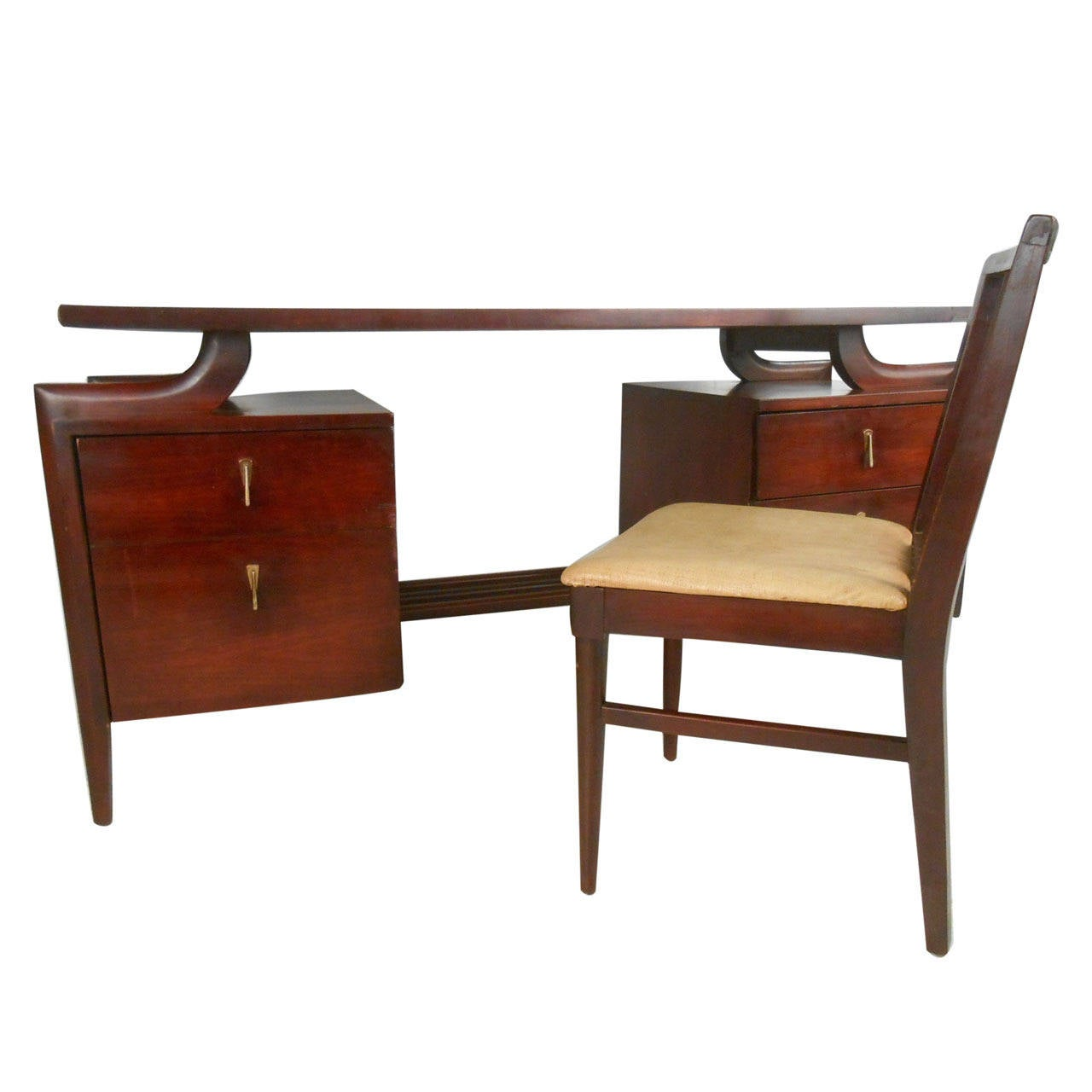 Mid Century Modern Floating Top Desk With Chair By Tri Bond For Sale