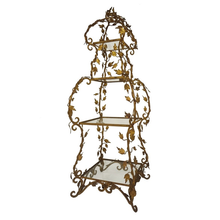 decorative gilded etagere at 1stdibs. Black Bedroom Furniture Sets. Home Design Ideas