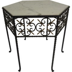 Vintage Iron and Marble End Table