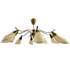 Mid-Century Modern Chandelier of Brass and Frosted Glass