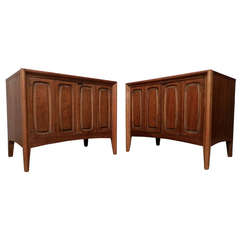 Two-Door Two-Tone Midcentury Side Tables
