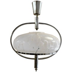 Rare Pendant Chandelier of Chrome and Frosted Glass