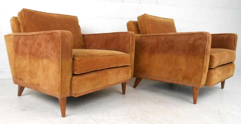 Superb Unique Pair Of Paul McCobb Style Corduroy Lounge Chairs 3