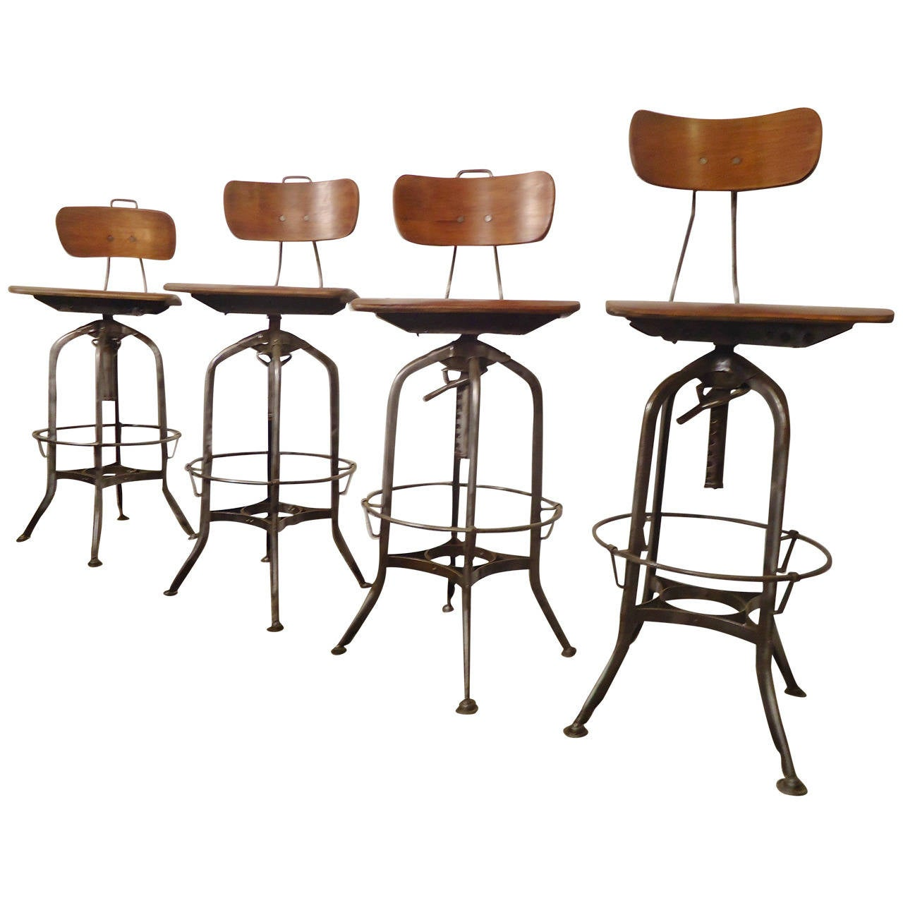 Refinished Toledo Factory Stools At 1stdibs