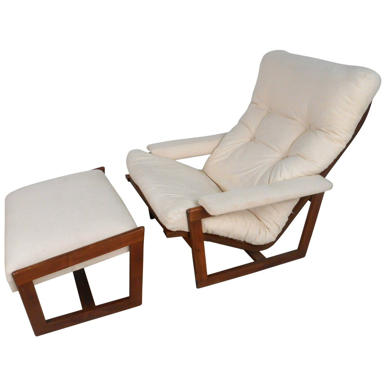 Unique mid century modern teak frame lounge chair with