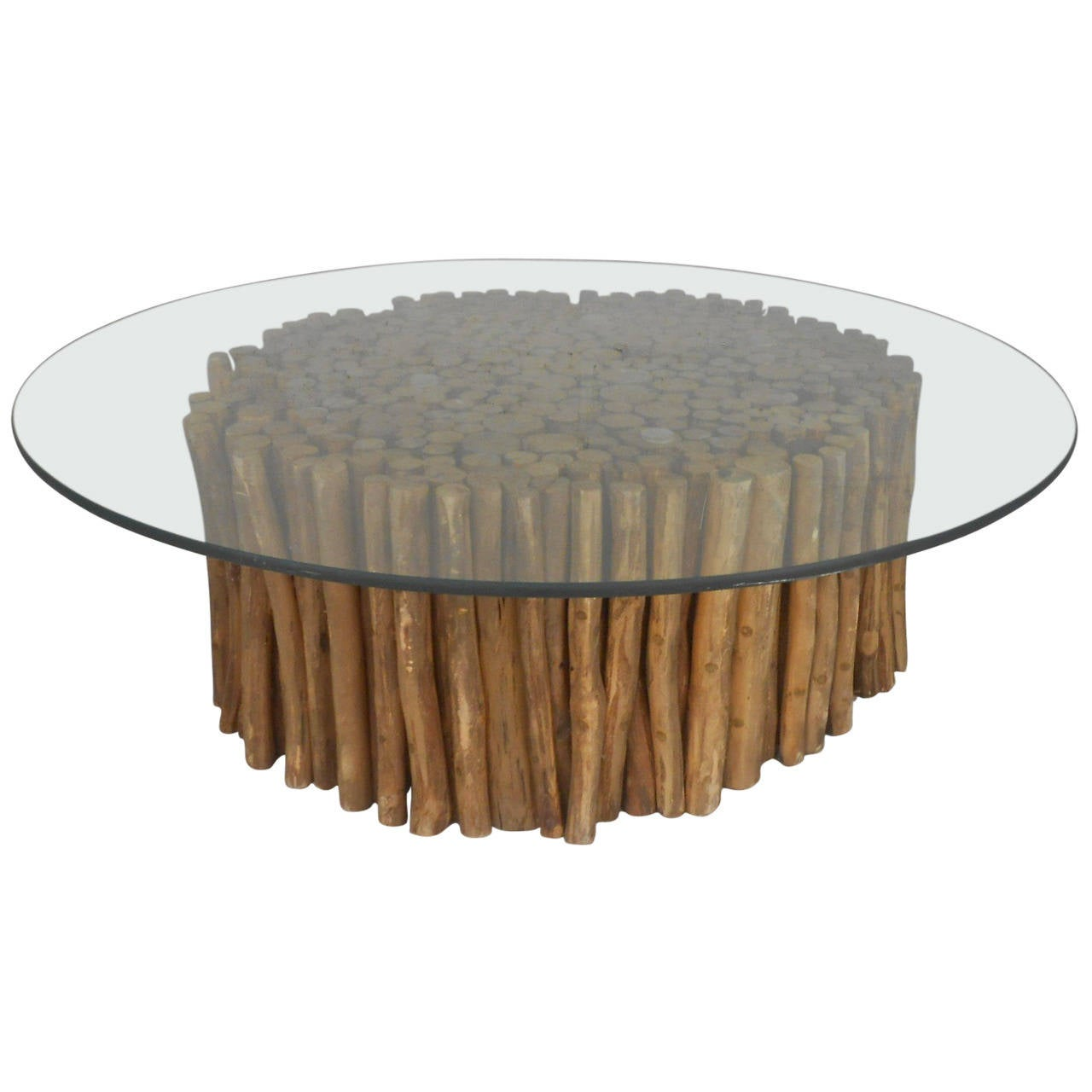 mid-century rustic twig and glass coffee table for sale at 1stdibs