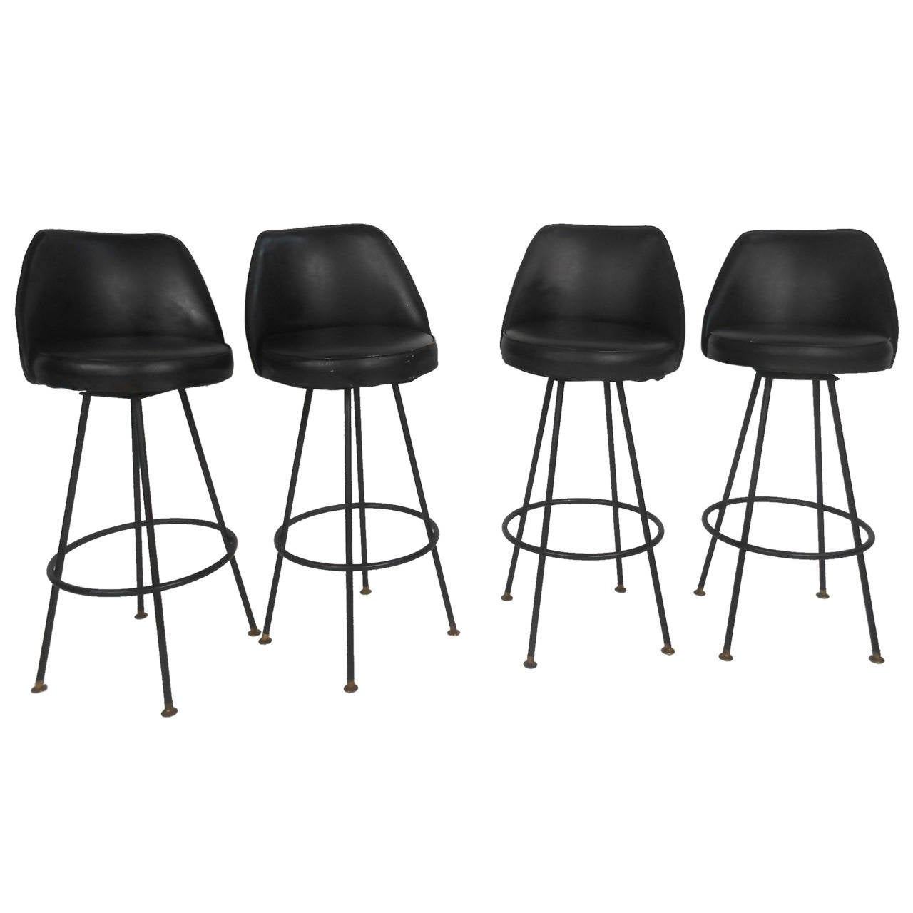 Four Mid Century Modern Bar Stools By Admiral Chrome