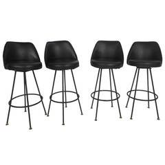 Four Mid-Century Modern Bar Stools by Admiral Chrome Corporation