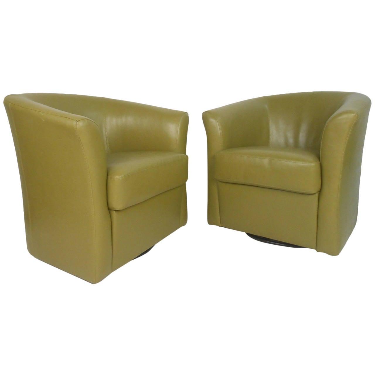Pair Of Mid Century Style Green Vinyl Swivel Club Chairs
