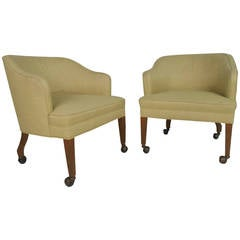 Pair of Mid-Century Modern Lounge Chairs on Brass Castors