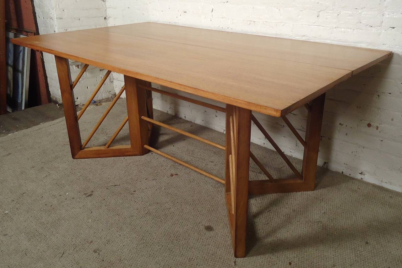 MidCentury Modern Folding Console Or Dining Table At Stdibs - Mid century modern folding dining table