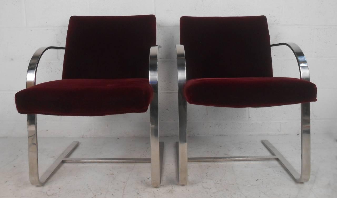 Vintage modern chrome frame cantilever dining chairs for for Modern chrome dining chairs