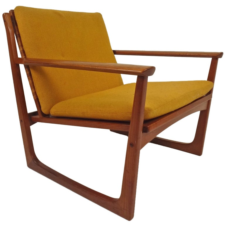 Hans Olsen Teak and Cane Lounge Chair For Sale at 1stdibs