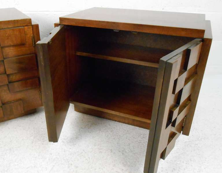 Brutalist Nightstands By Lane Furniture Co At 1stdibs