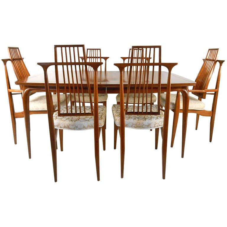Unique mid century walnut dining room set at 1stdibs for Unique dining set furniture