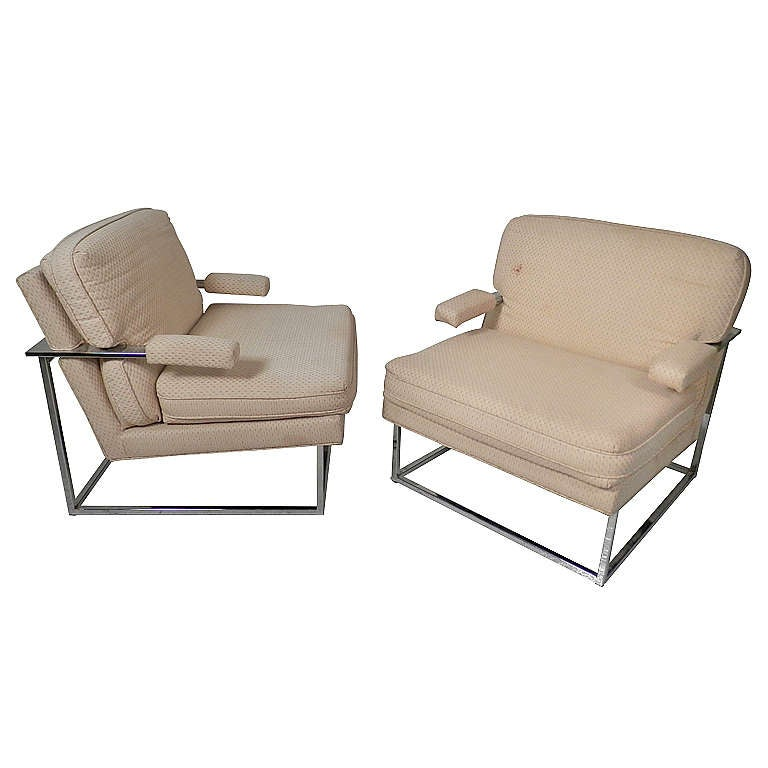 Milo Baughman Style Club Chairs
