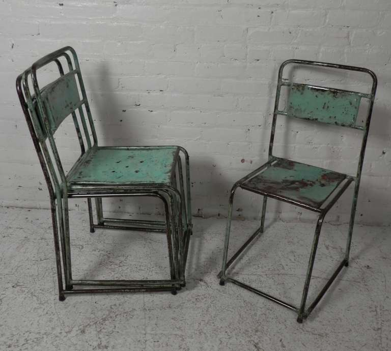 distressed industrial furniture. Beautifully Distressed Industrial Metal Chairs In Slight Variations Of Wear, Color And Patina. Easily Furniture E