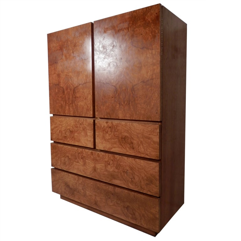 Large burl wood cabinet at 1stdibs for Burl wood kitchen cabinets