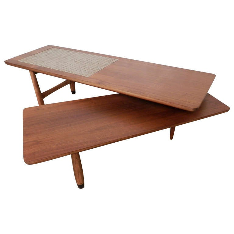 Refinished Tile Top Mid-Century Pivot Table For Sale At
