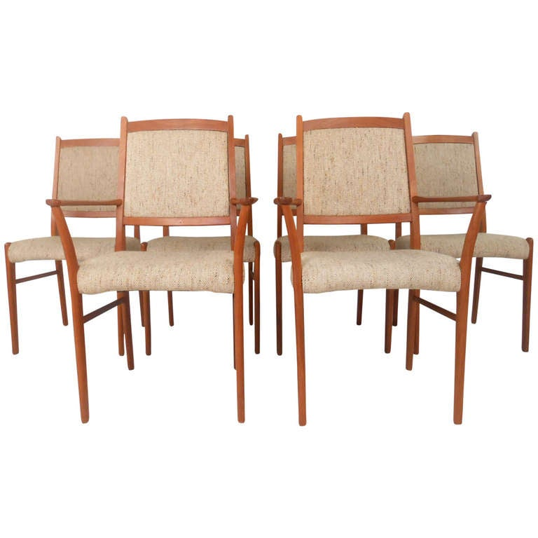 set of unique danish teak dining chairs at 1stdibs