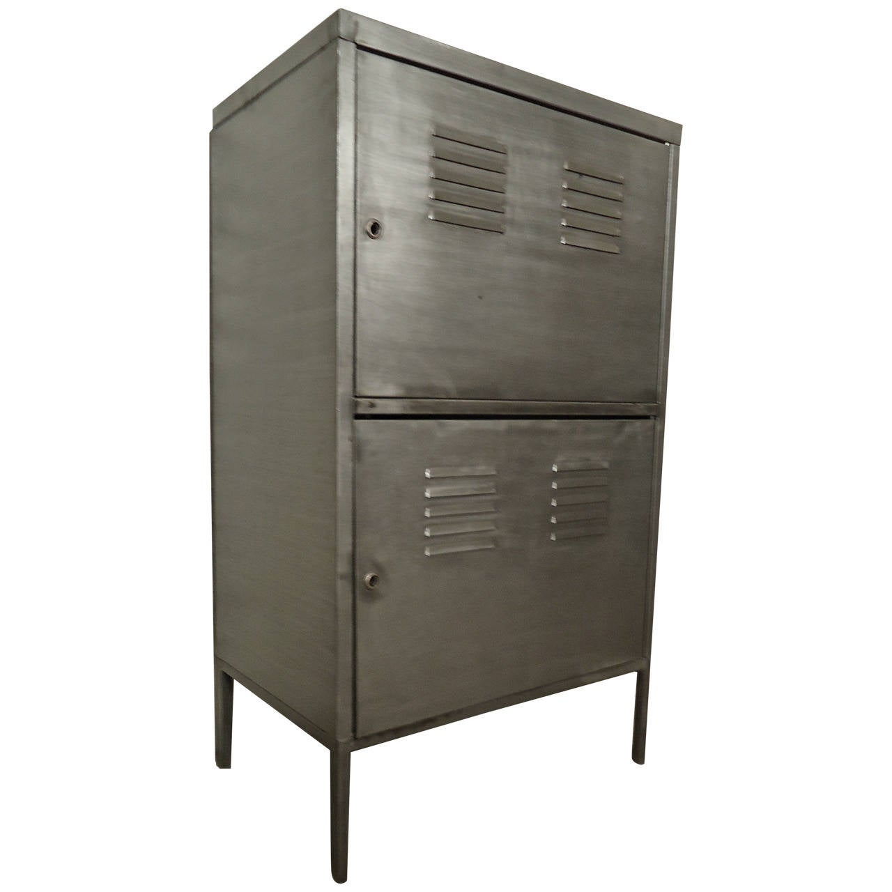Industrial metal two door cabinet for sale at 1stdibs for 1 door cabinet