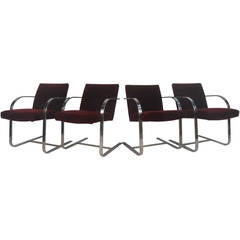 Vintage Modern Chrome Frame Cantilever Dining Chairs