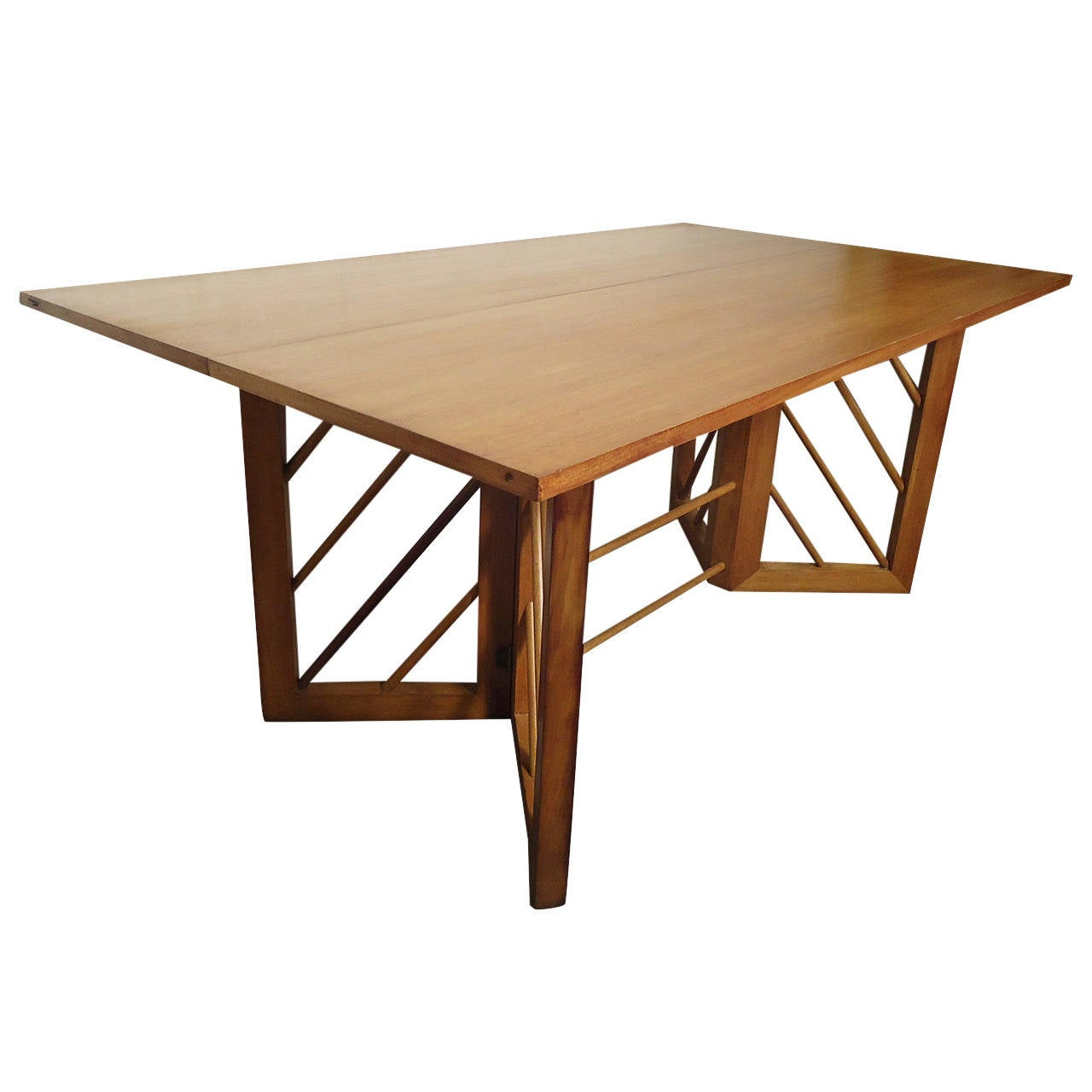 Mid century modern folding console or dining table at 1stdibs for Table console retractable