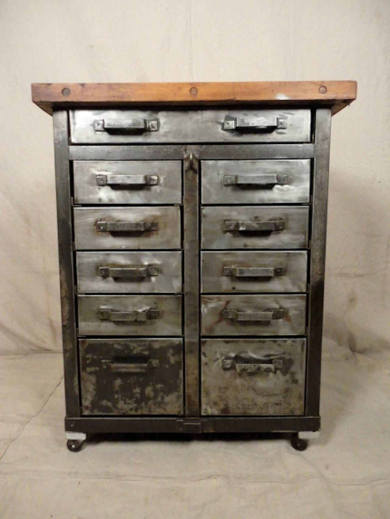 factory cabinet with butcher block top for sale at 1stdibs. Black Bedroom Furniture Sets. Home Design Ideas
