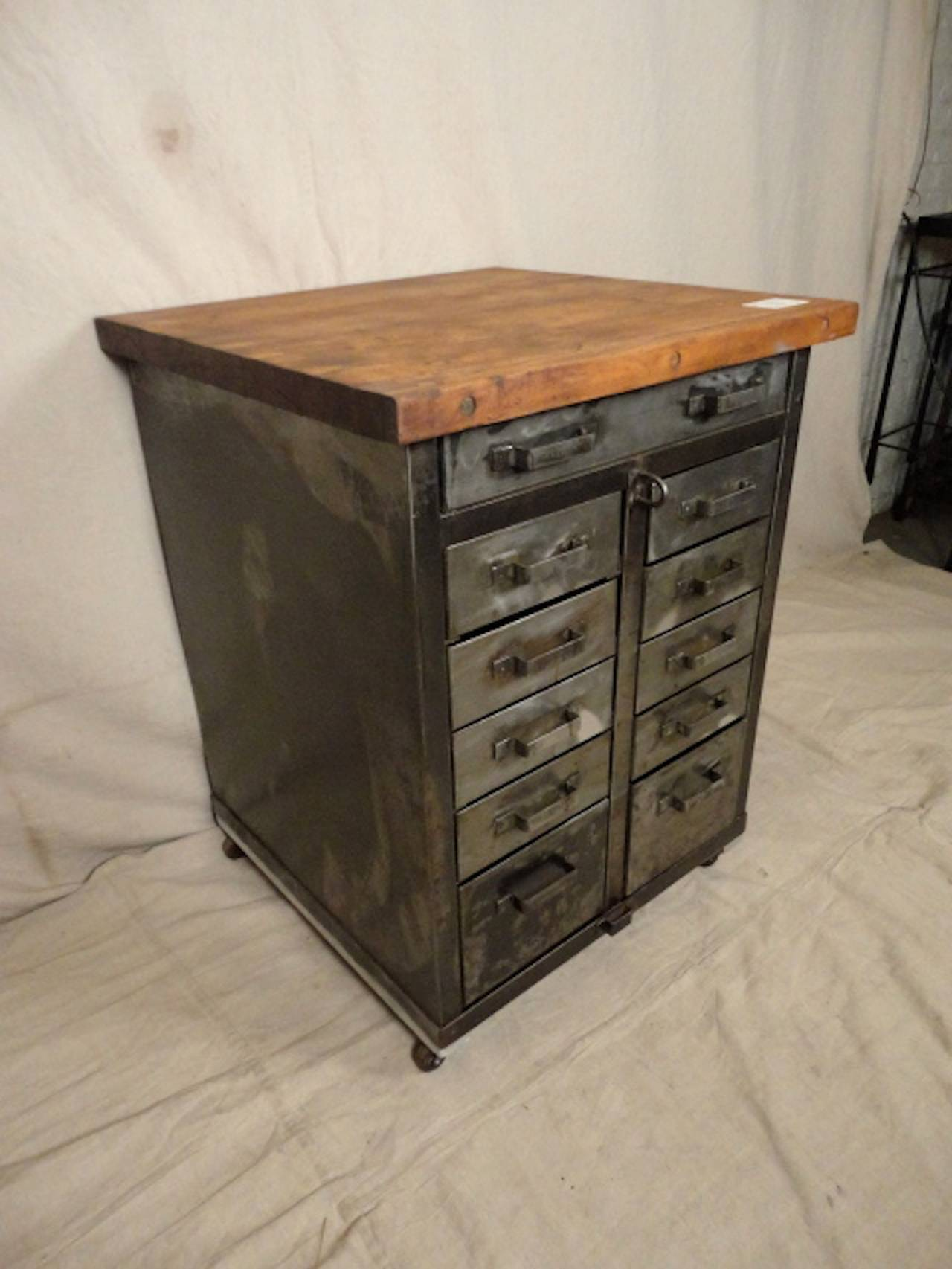 factory cabinet with butcher block top at 1stdibs